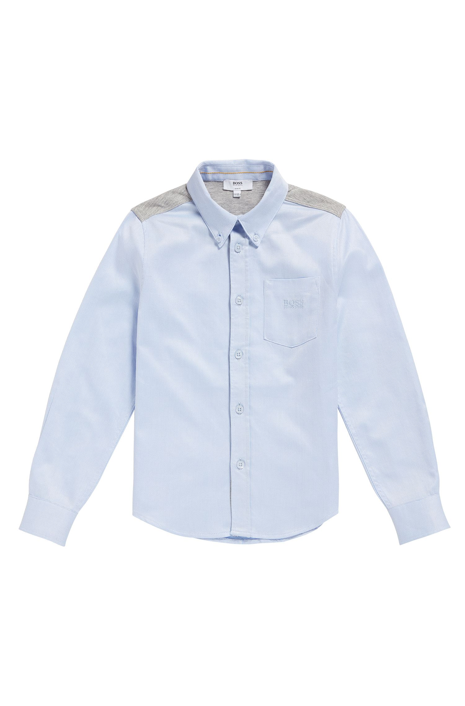 Kids' shirt in cotton with jersey trim: 'J25990'
