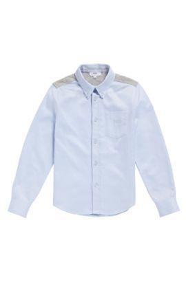 Kinderoverhemd van katoen met beleg van jersey: 'J25990', Lichtblauw