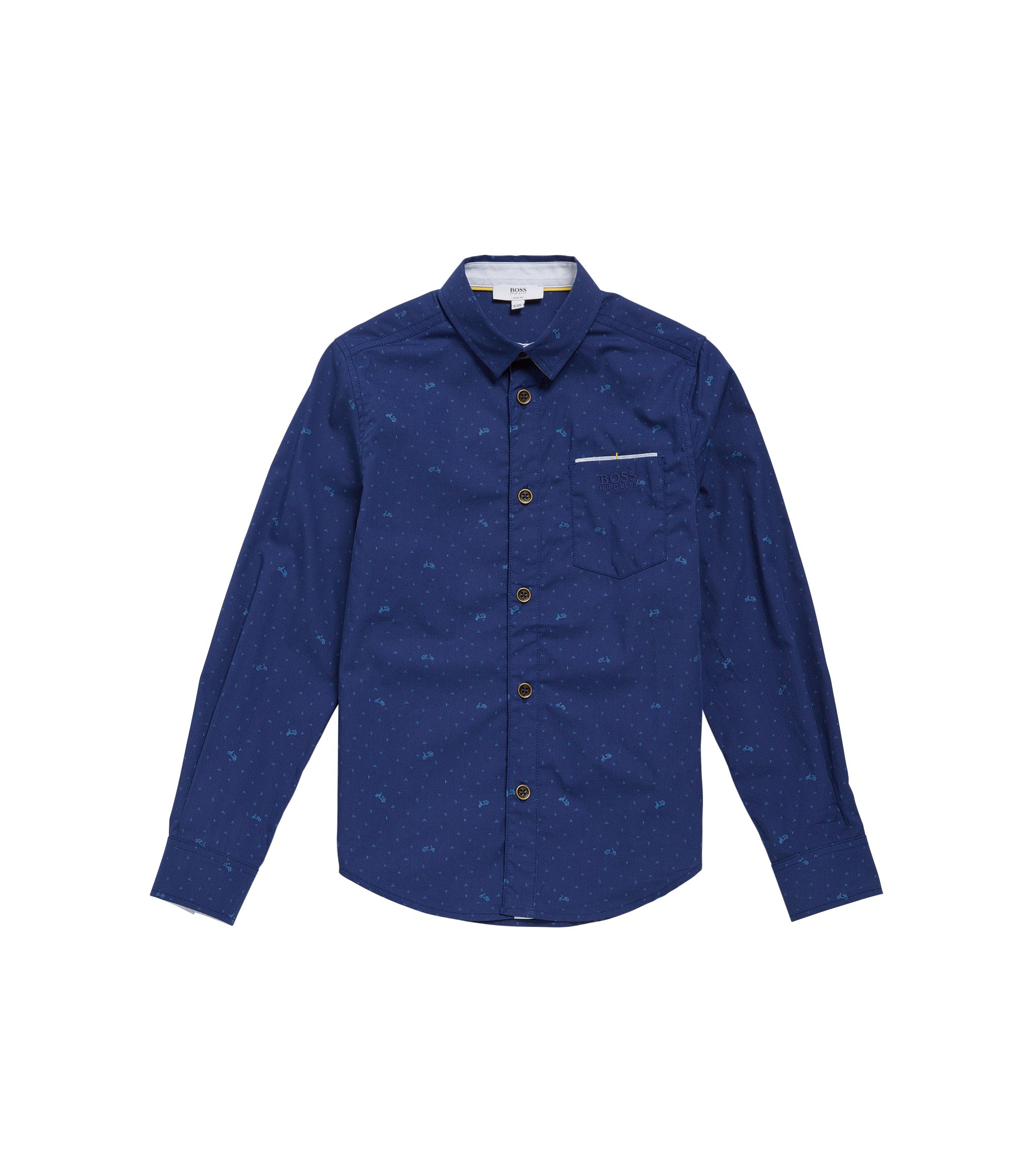 Slim-fit kids shirt in cotton with printed pattern: 'J25991', Dark Blue