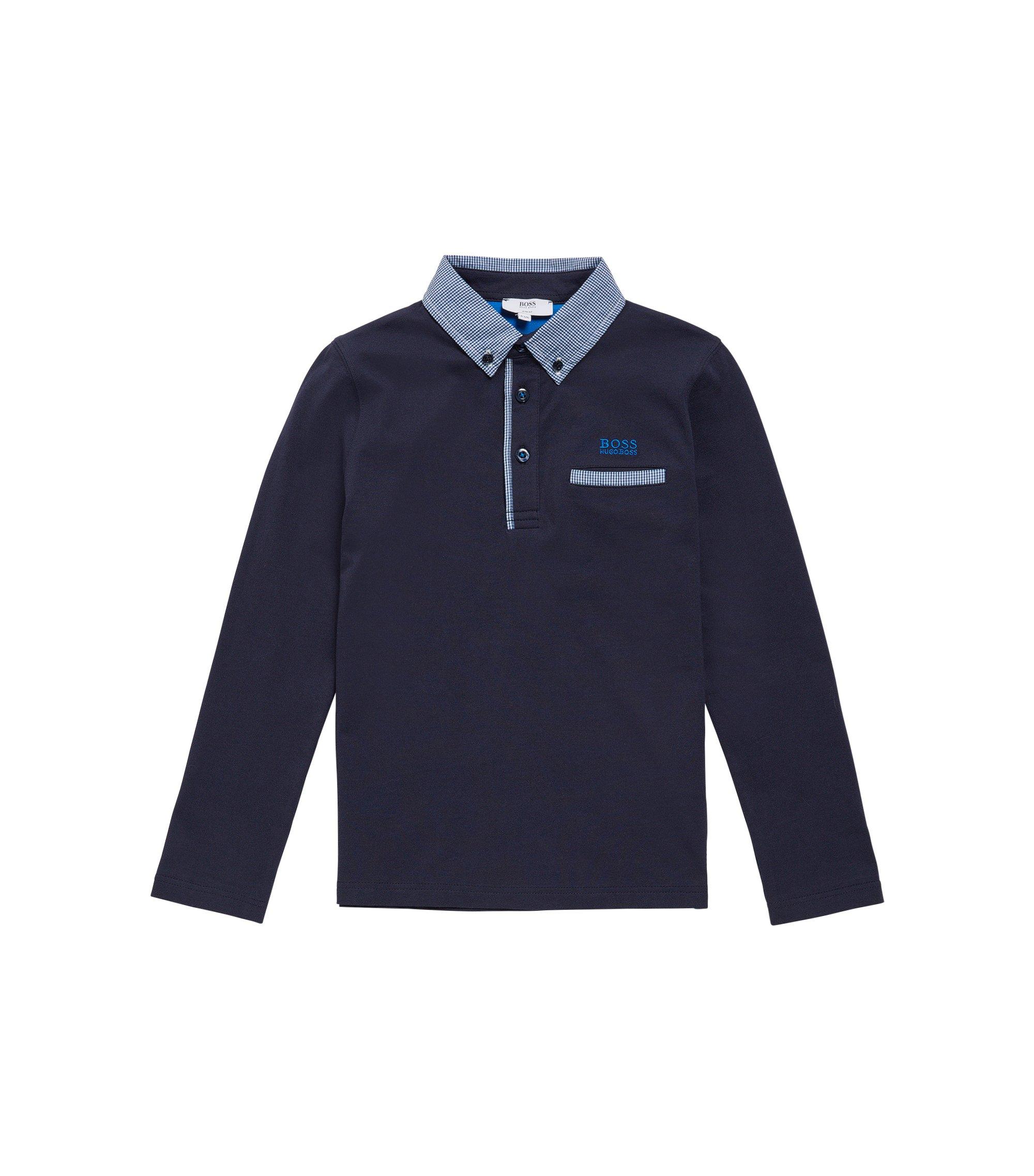 T-shirt à manches longues pour enfant en coton, à carreaux: «J25993», Bleu foncé