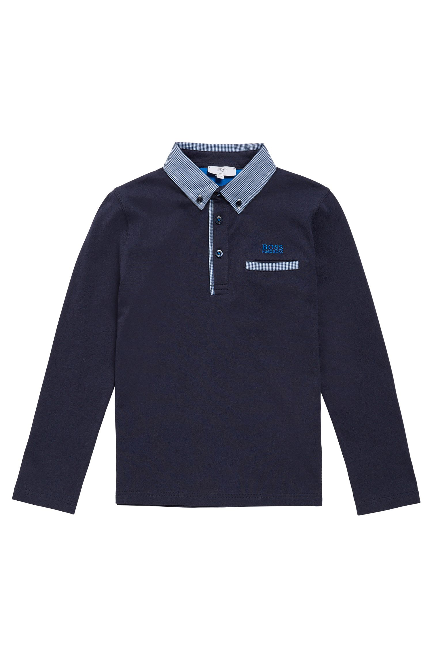 Kids' long-sleeved shirt in cotton with checked details: 'J25993'