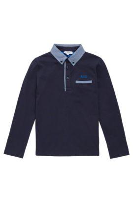 Kindershirt van katoen met lange mouwen en ruitdetails: 'J25993', Donkerblauw
