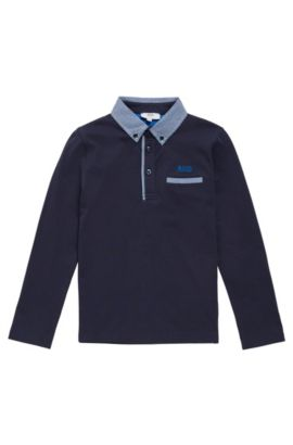 Kids' long-sleeved shirt in cotton with checked details: 'J25993', Dark Blue