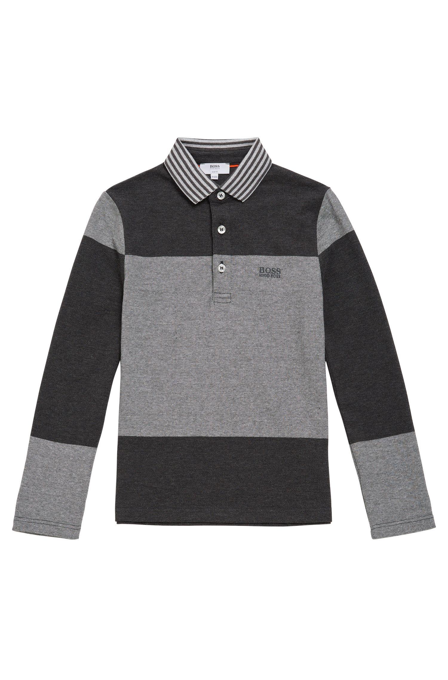 T-shirt à manches longues pour enfant en coton, de style polo: «J25996»