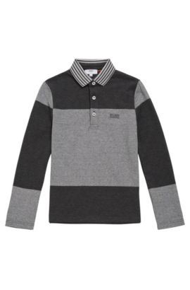 Kids' long-sleeved shirt made from cotton in polo style: 'J25996', Dark Grey