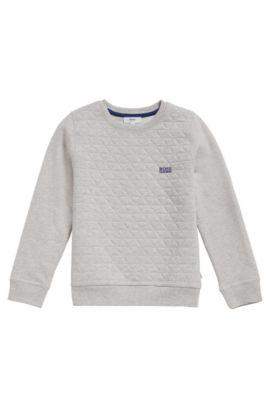 Kindersweatshirt van een katoenmix met stretch: 'J25A03', Lichtgrijs