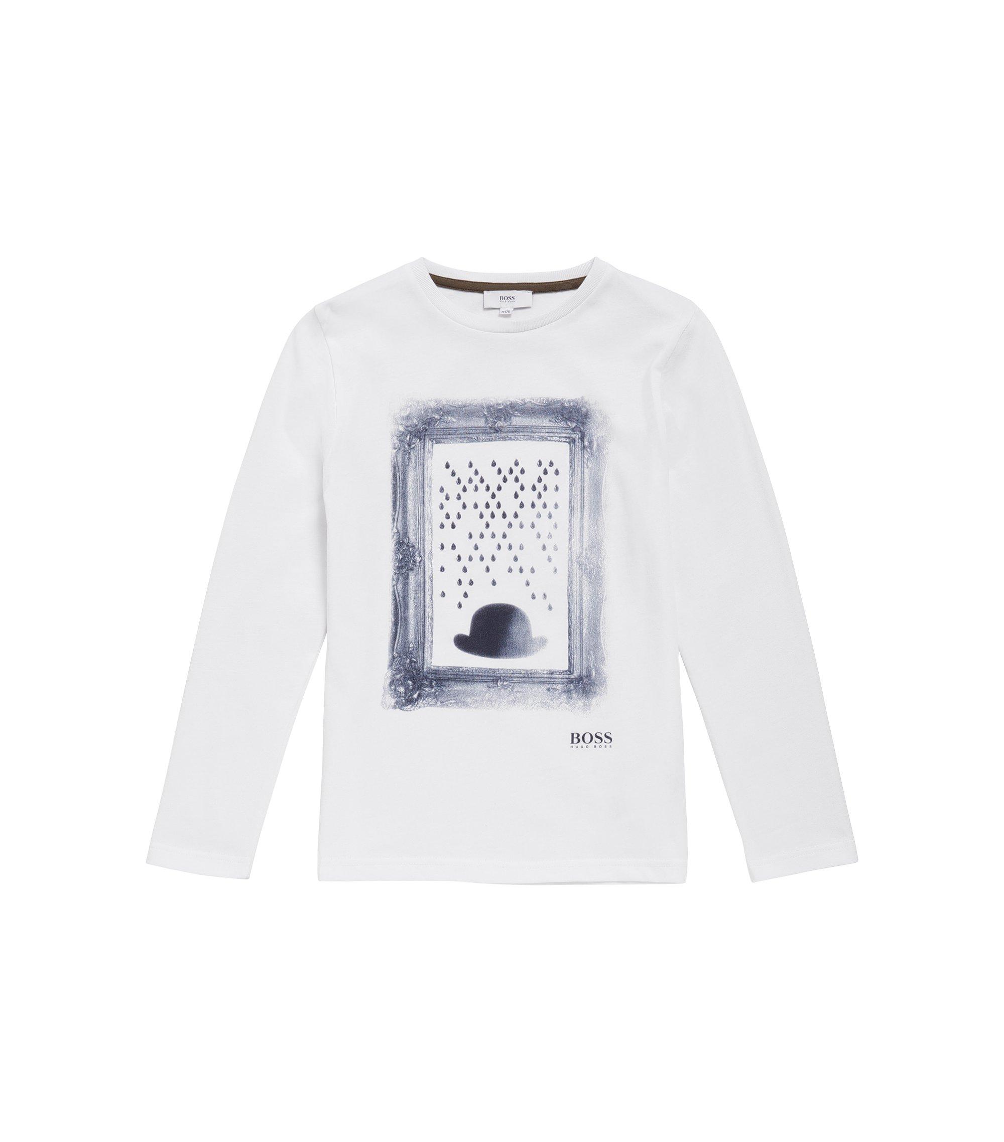T-shirt imprimé à manches longues pour enfant en coton: «J25A05», Blanc
