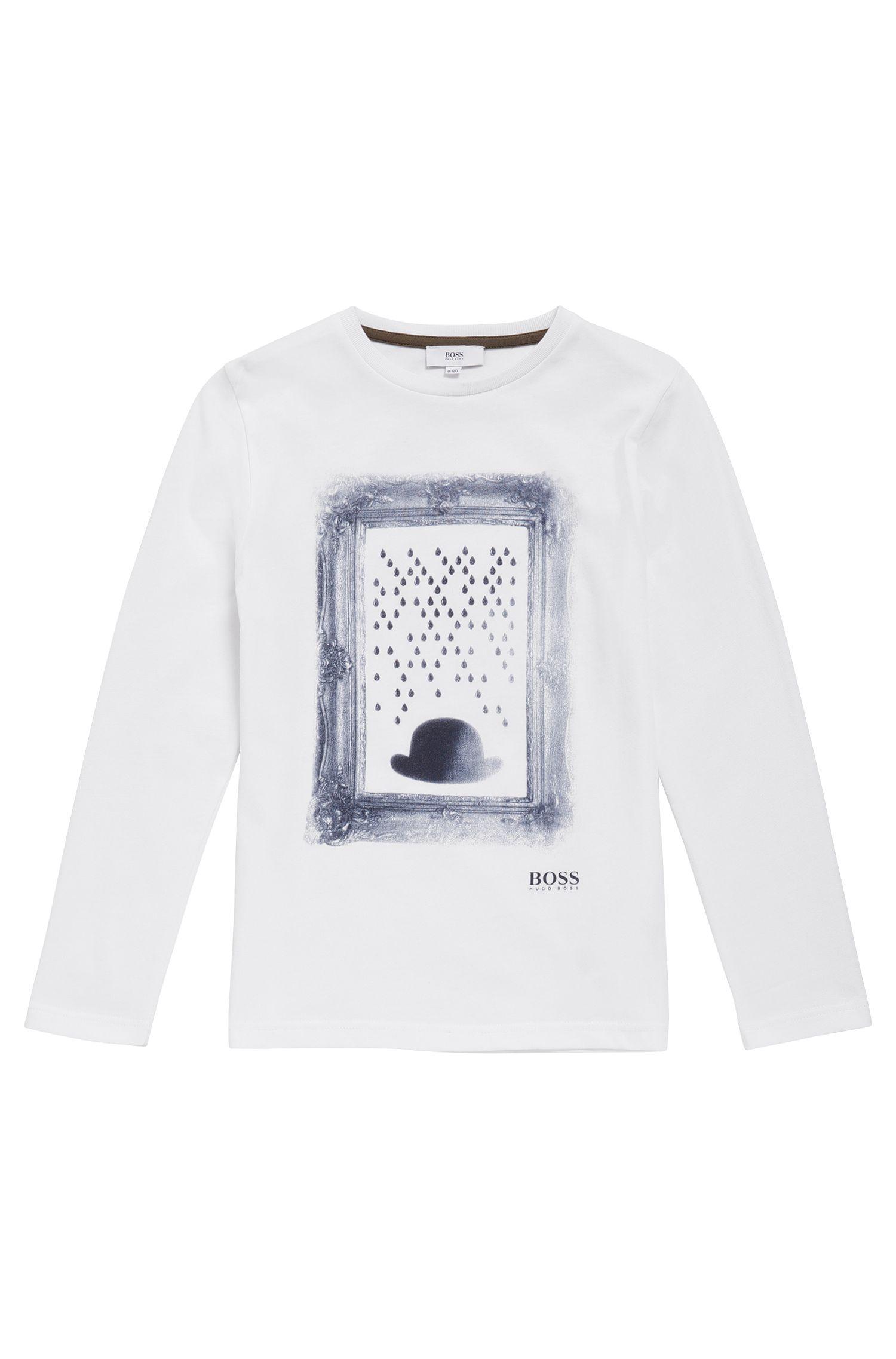 T-shirt imprimé à manches longues pour enfant en coton: «J25A05»