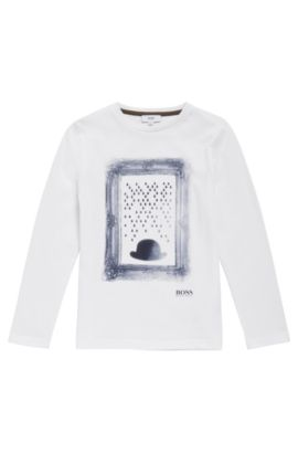 Kids' long-sleeved printed shirt in cotton: 'J25A05', White