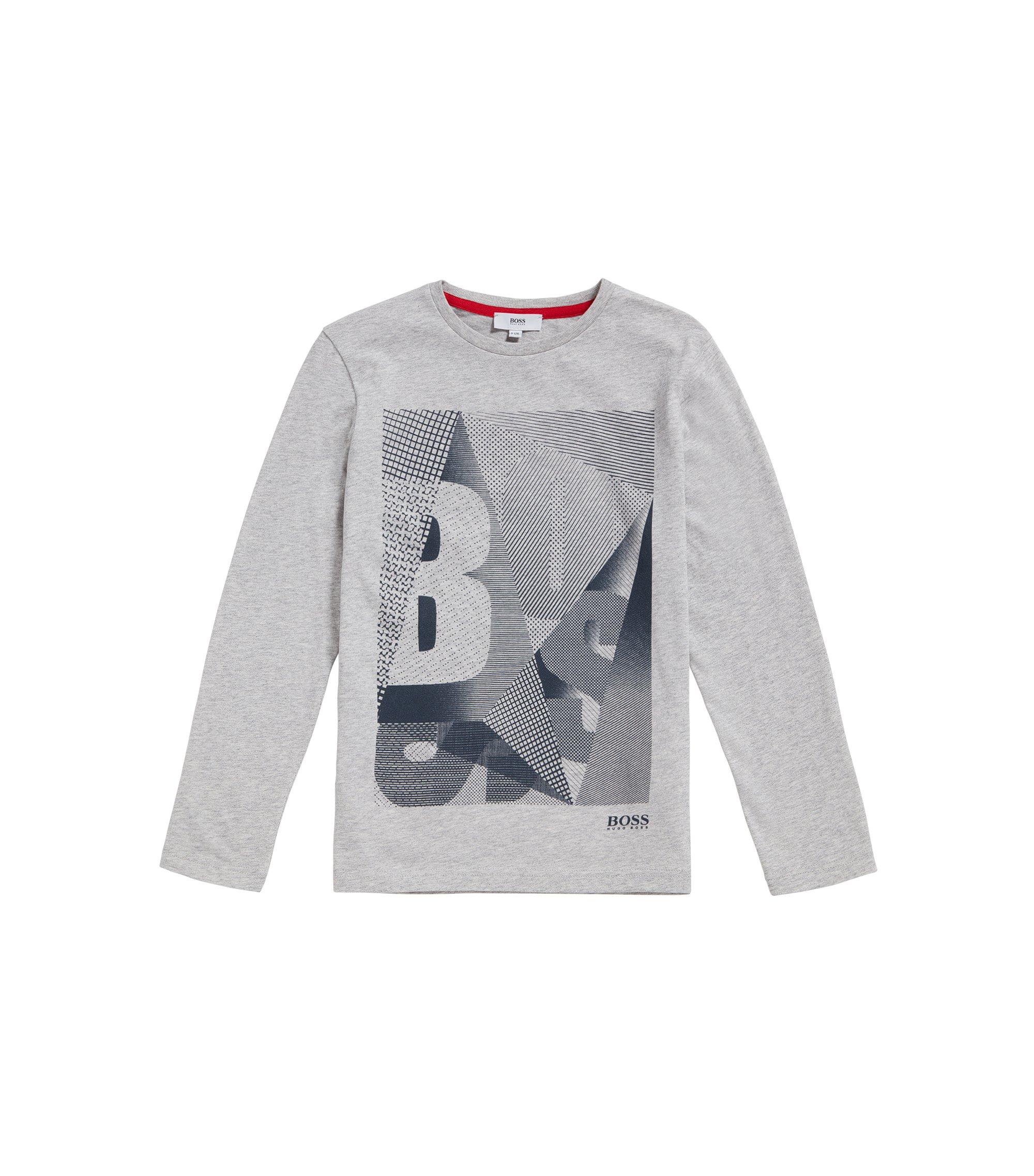 T-shirt da bambino in cotone con etichetta stampata: 'J25A06', Grigio chiaro