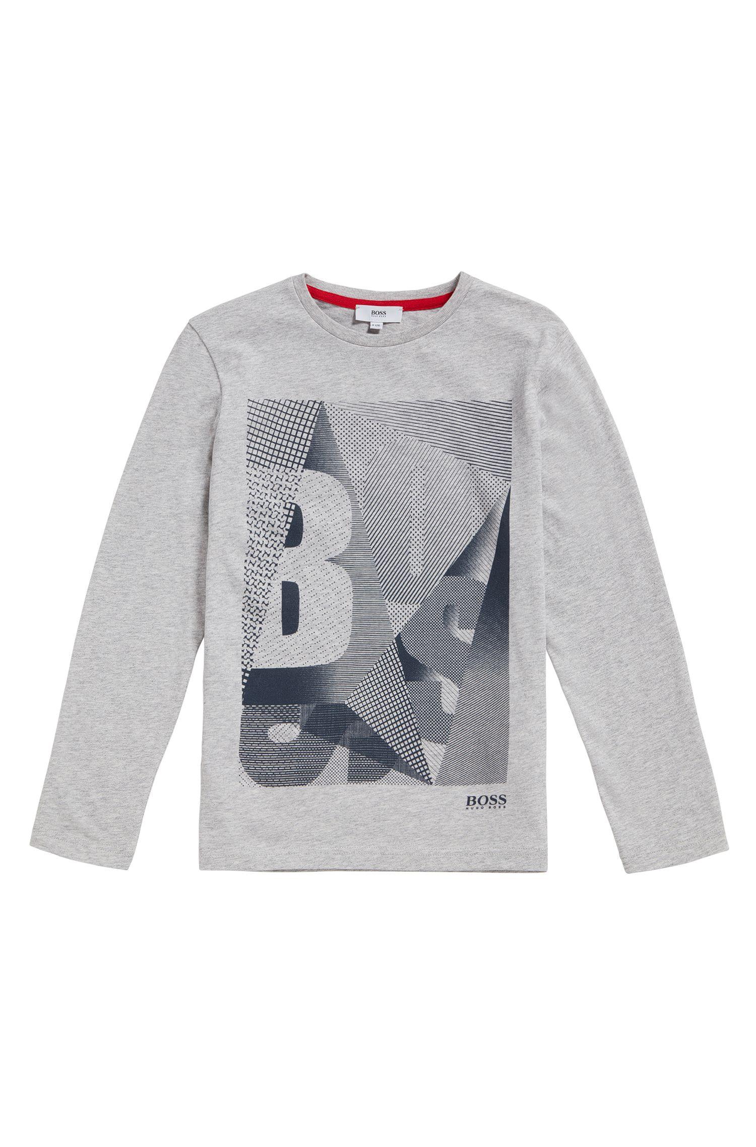 T-shirt da bambino in cotone con etichetta stampata: 'J25A06'
