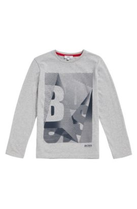 Kids' cotton shirt with logo print: 'J25A06', Light Grey