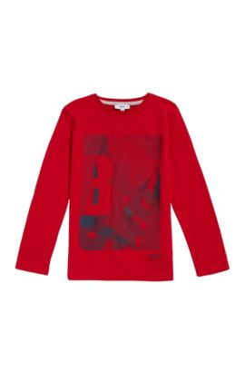 Kids' cotton shirt with logo print: 'J25A06', Red