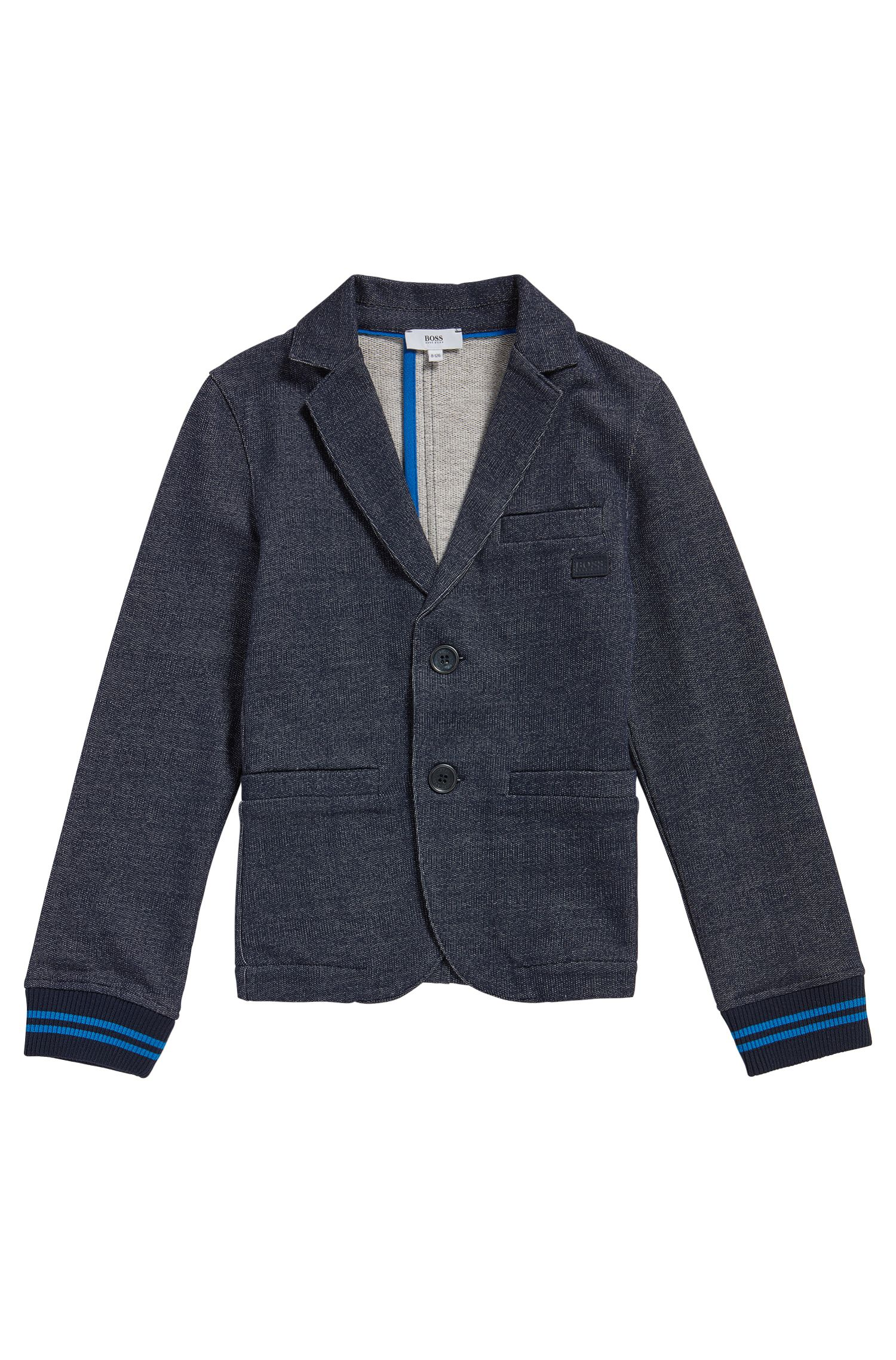 Kids' jacket in a stretch cotton blend that looks like denim: 'J25A12'