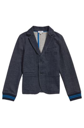 Kids' jacket in a stretch cotton blend that looks like denim: 'J25A12', Dark Blue