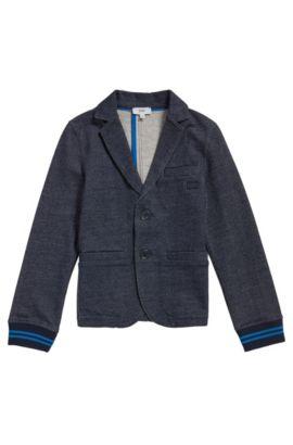 Veste pour enfant en coton mélangé extensible, à l'aspect denim: «J25A12», Bleu foncé
