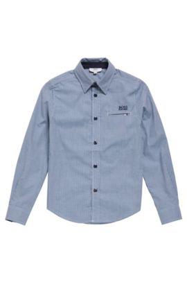 Chemise pour enfant en coton, au motif à carreaux: «J25A20», Bleu foncé