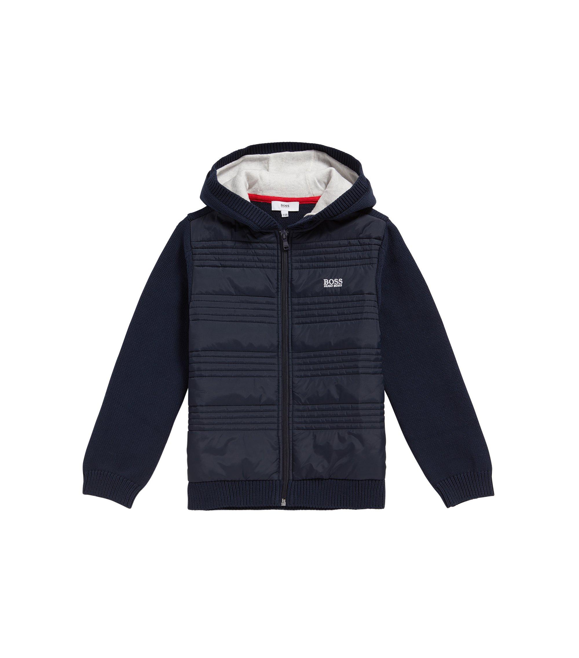 Giacca in maglia da bambino in cotone con dettagli impunturati: 'J25A23', Blu scuro