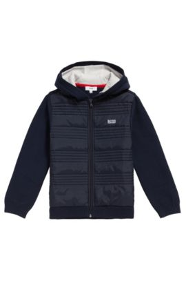 Kids' cardigan in cotton with topstitched details: 'J25A23', Dark Blue