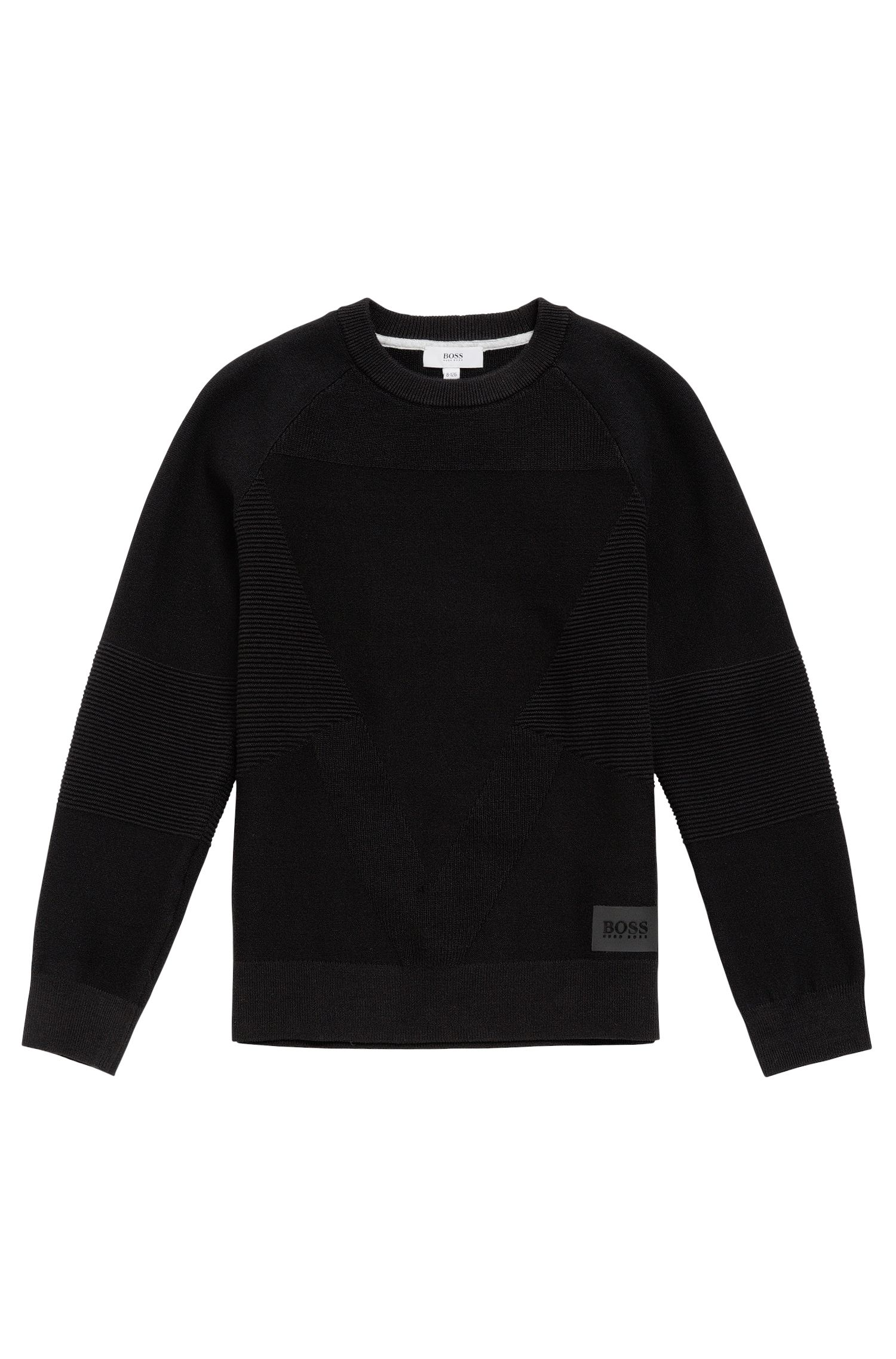 Kids' cotton sweater with a mixture of textures: 'J25A32'