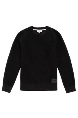 Kids' cotton sweater with a mixture of textures: 'J25A32', Black