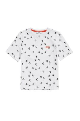 Kindershirt van katoen met all-over print: 'J25A34', Wit