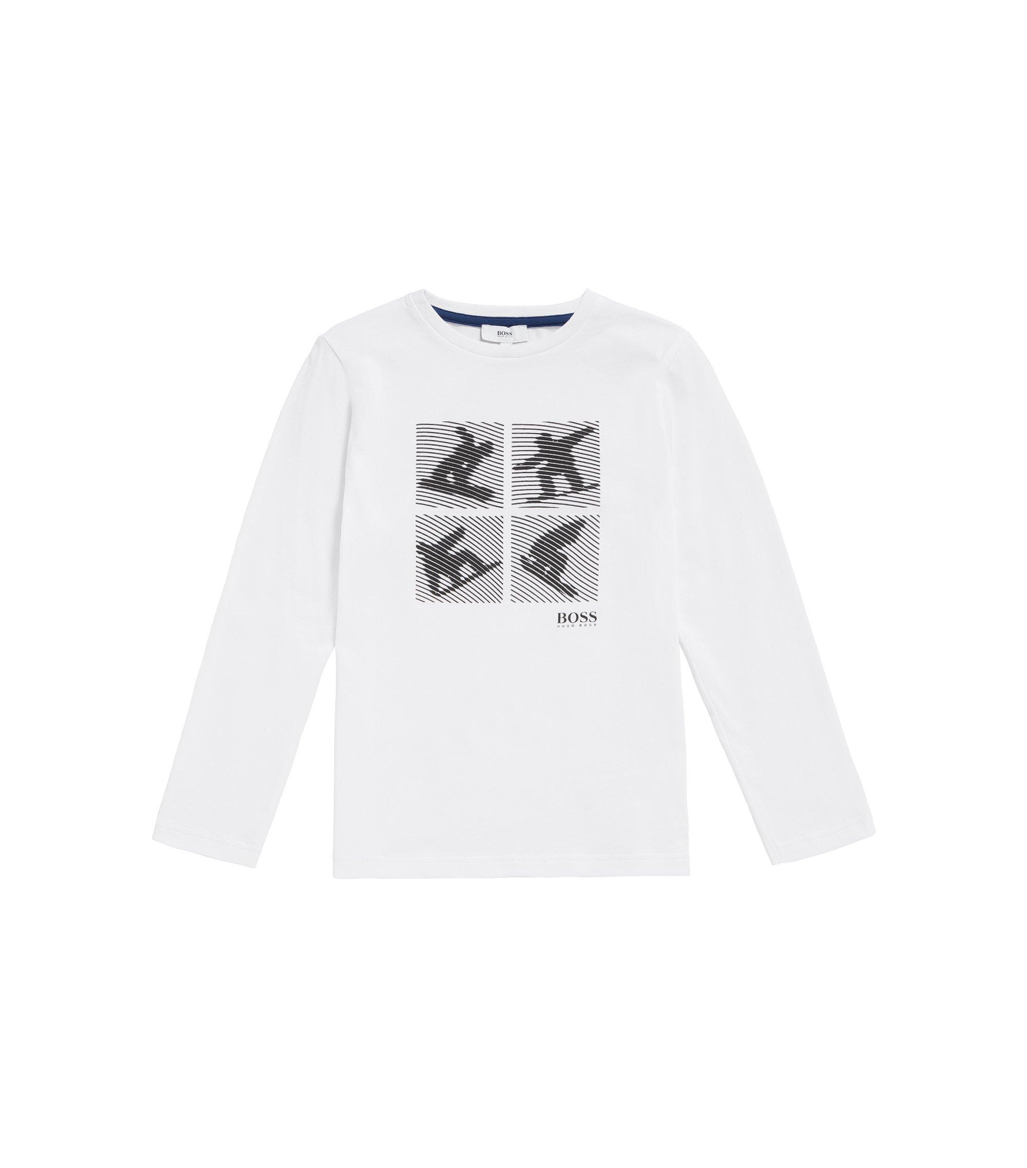 T-shirt da bambino in cotone con stampa con surfista: 'J25A35', Bianco