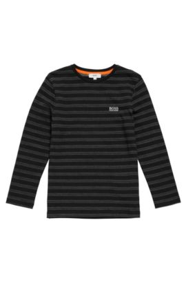 Patterned long-sleeved shirt in cotton for kids: 'J25A37', Black