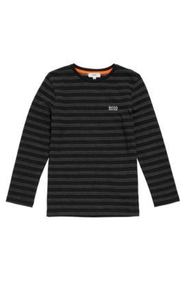 T-shirt à manches longues pour enfant en coton à motif: «J25A37», Noir