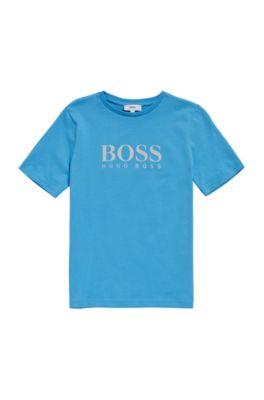 T-shirt pour enfant en coton avec un imprimé à l'avant: «J25A38», Turquoise