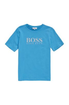 Kids' cotton shirt with front print: 'J25A38', Turquoise