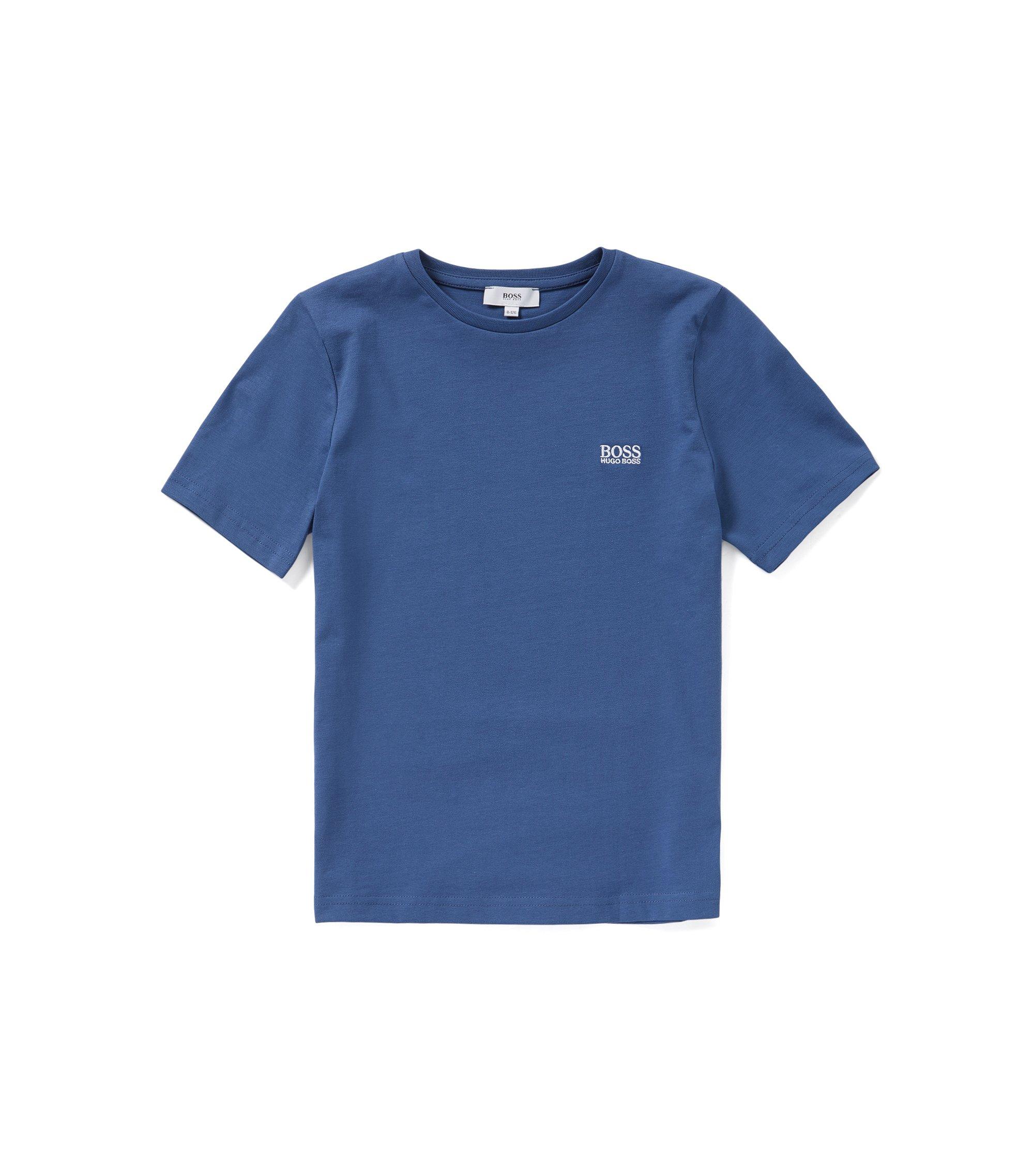 Kinder-T-shirt van stretchkatoen met ronde hals: 'J25A40', Blauw