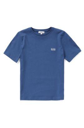 Kids' cotton t-shirt with a round neckline: 'J25A40', Blue