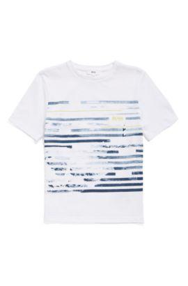 T-shirt da bambino in cotone con stampa frontale: 'J25A49', Bianco