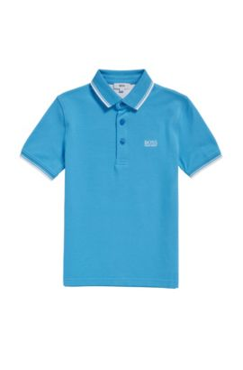 Kids' regular-fit polo shirt in cotton, Turquoise