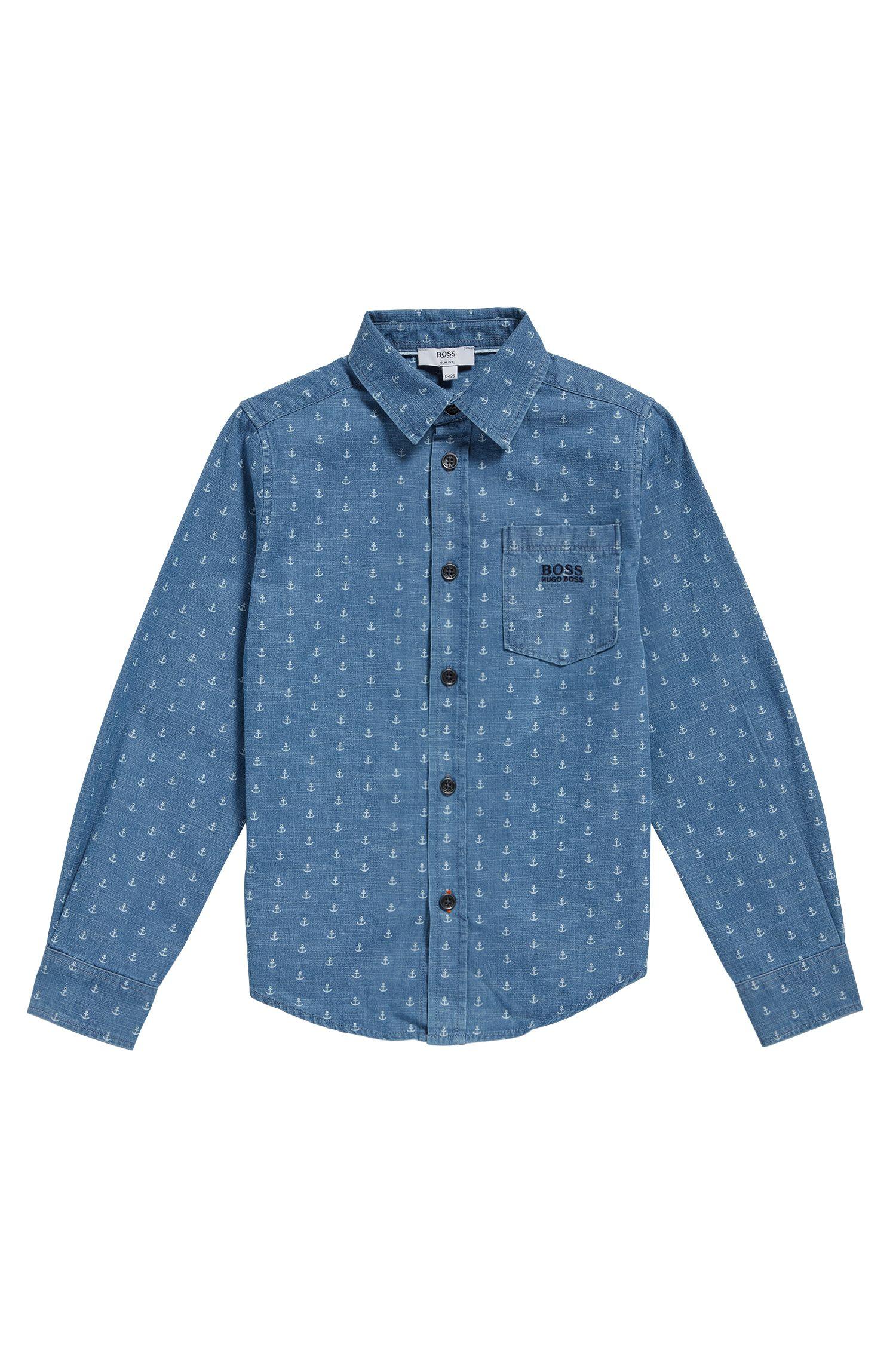 Chemise pour enfant en coton, à l'imprimé allover: «J25A88»