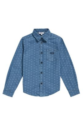Kids' shirt in cotton with all-over print: 'J25A88', Patterned