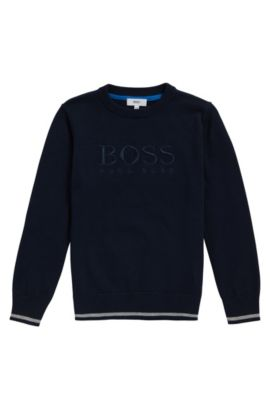 Kids' regular-fit sweater in combed cotton, Dark Blue