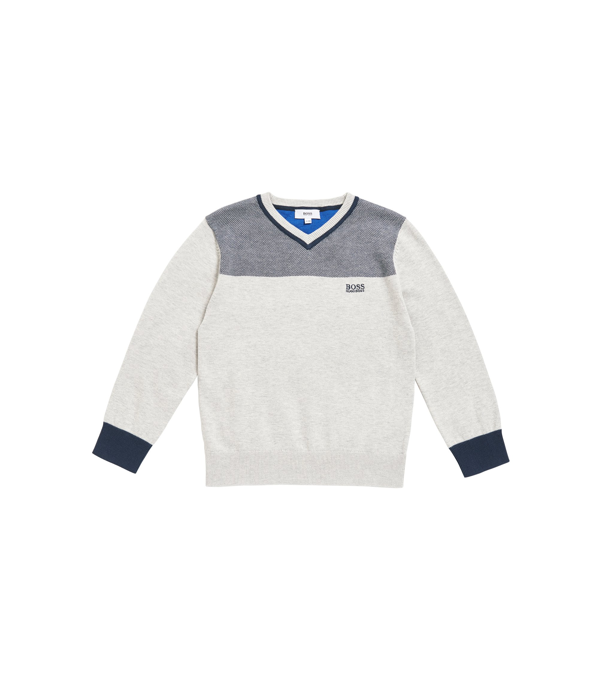 Kids' V-neck sweater in combed cotton, Light Grey