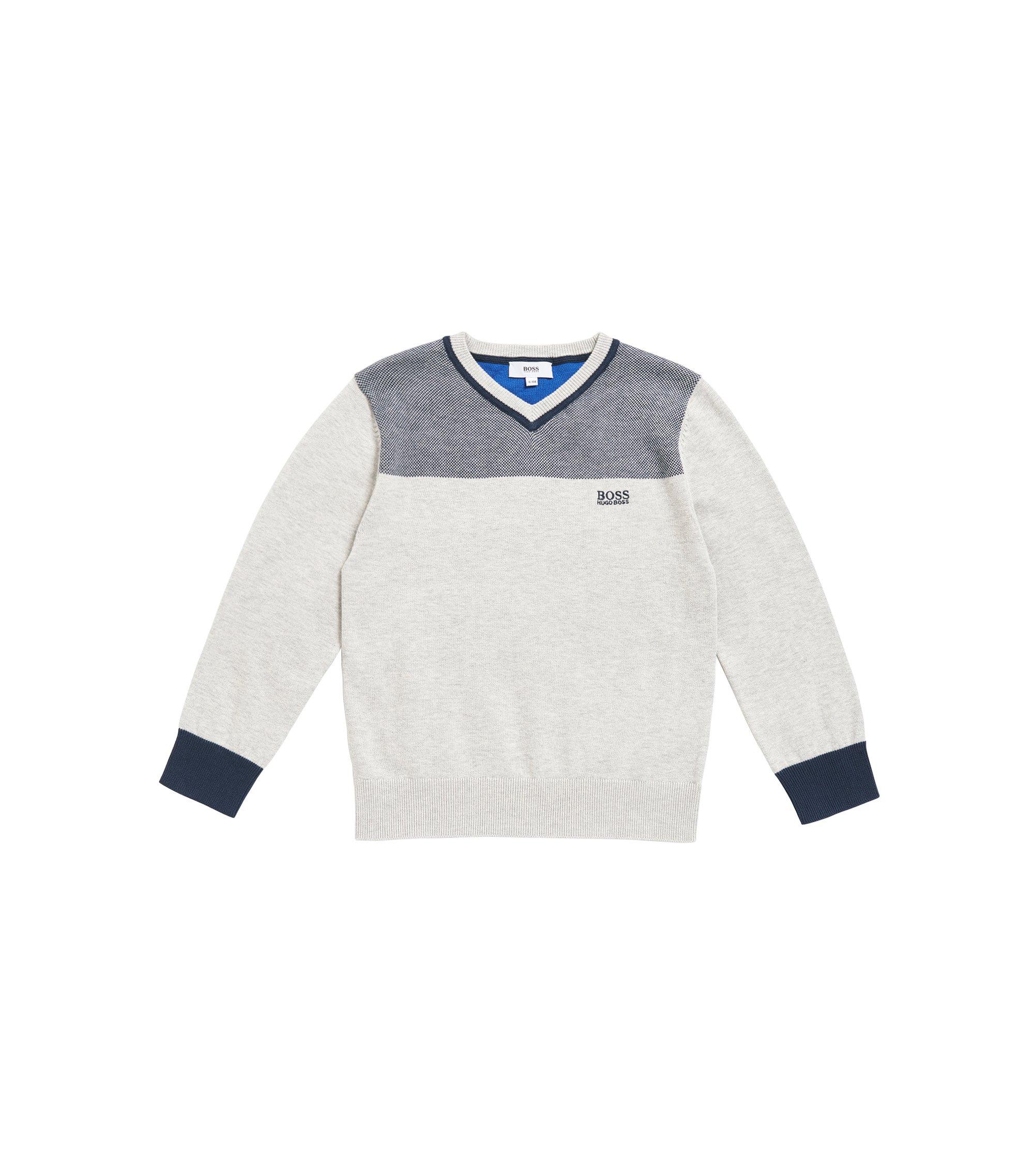 Maglione da bambino con scollo a V in cotone pettinato, Grigio chiaro