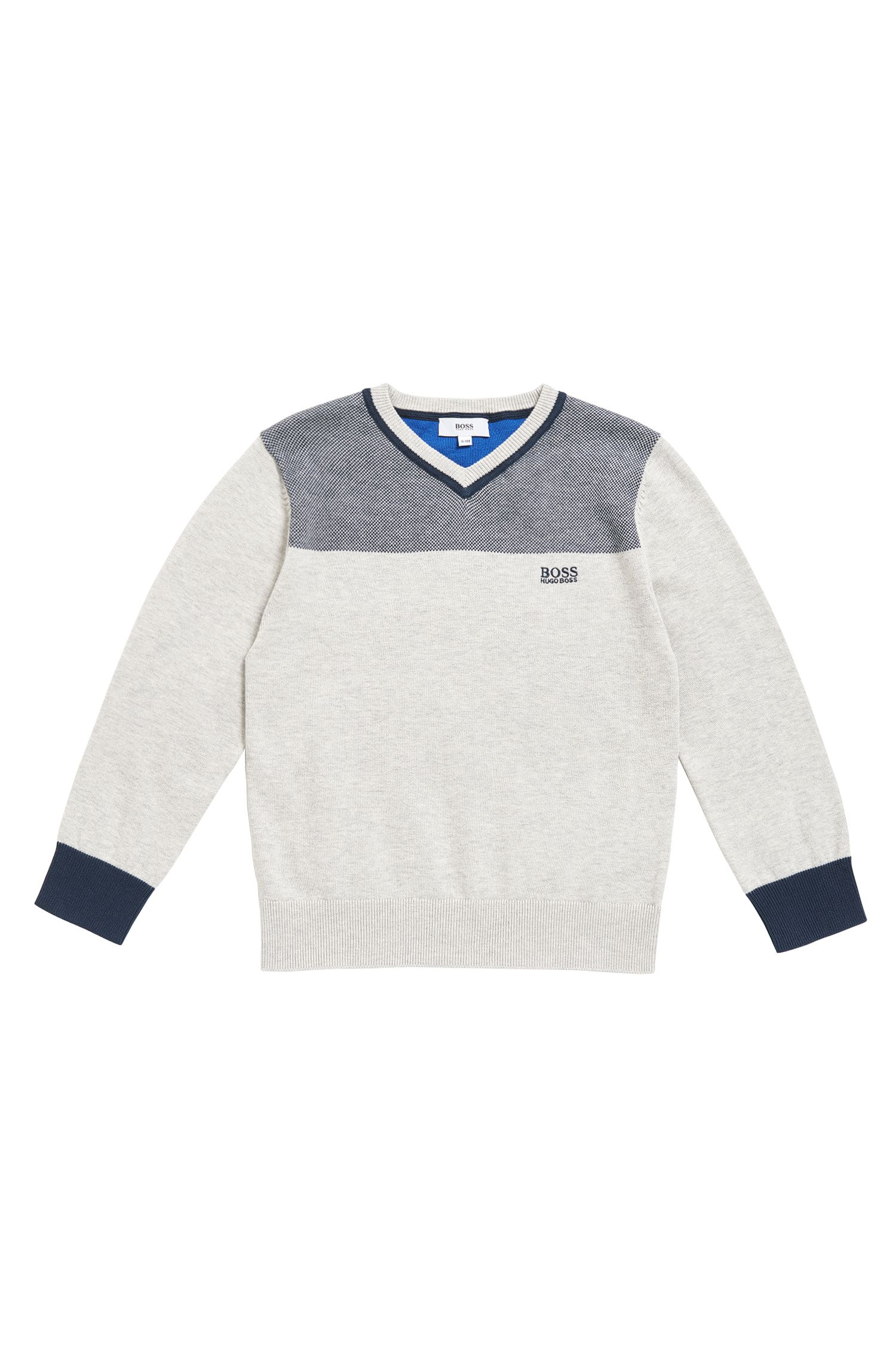 Kids' V-neck sweater in combed cotton