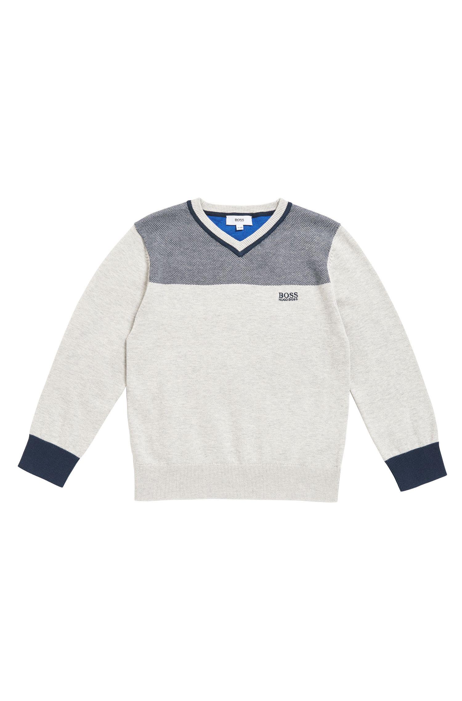 Kids Pullover aus gekämmter Baumwolle mit V-Ausschnitt