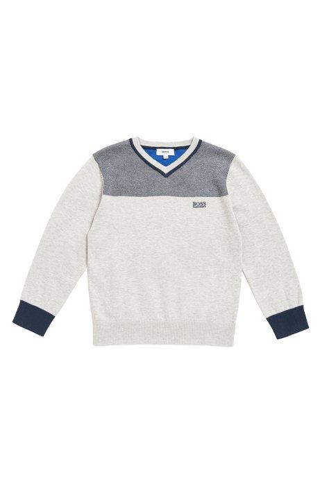 Kids-Pullover aus gekämmter Baumwolle mit V-Ausschnitt, Hellgrau