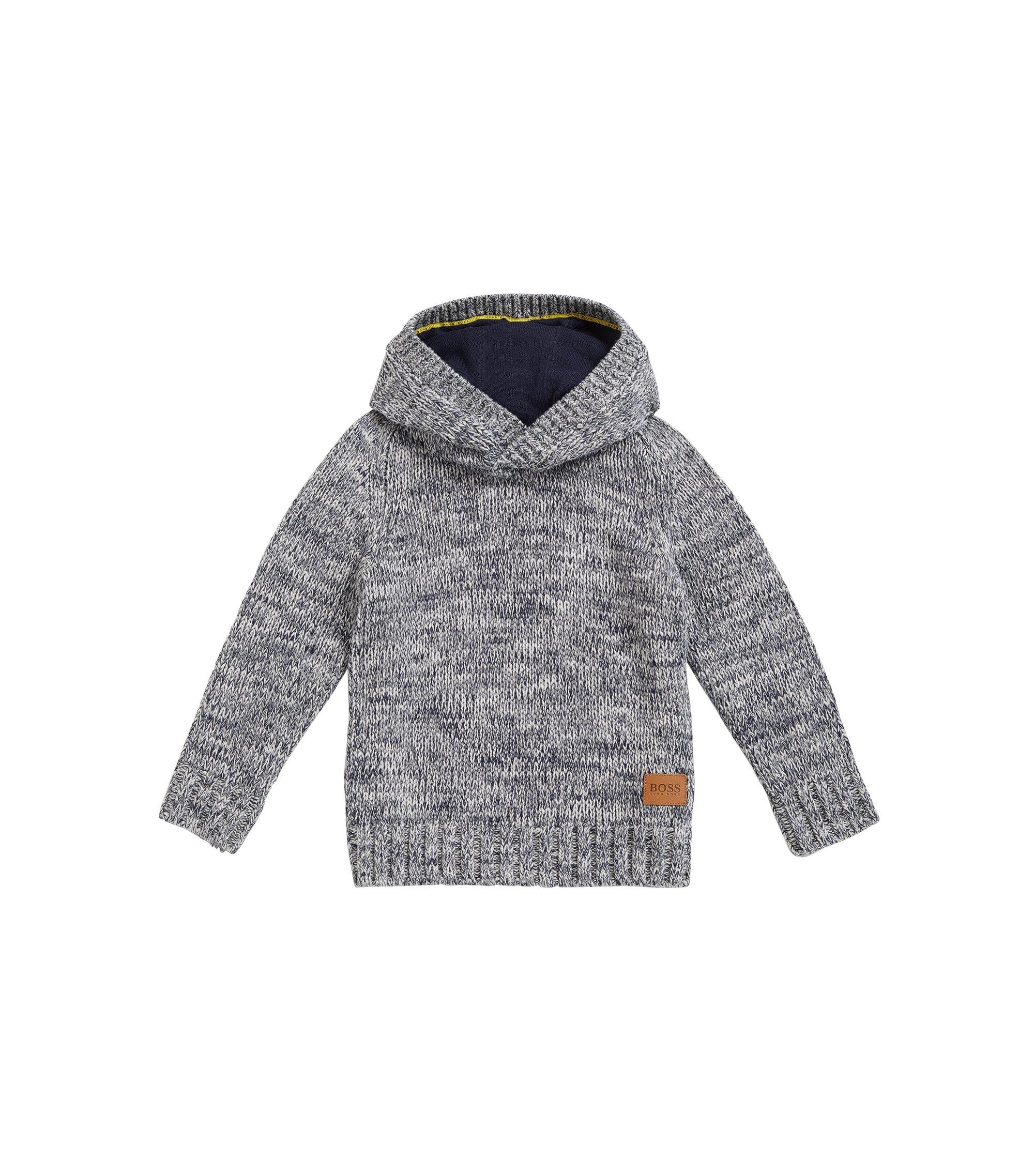 Maglione con cappuccio da bambino in cotone pettinato, A disegni