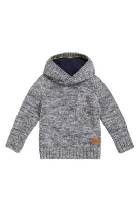 Kids' hooded sweater in combed cotton, Patterned