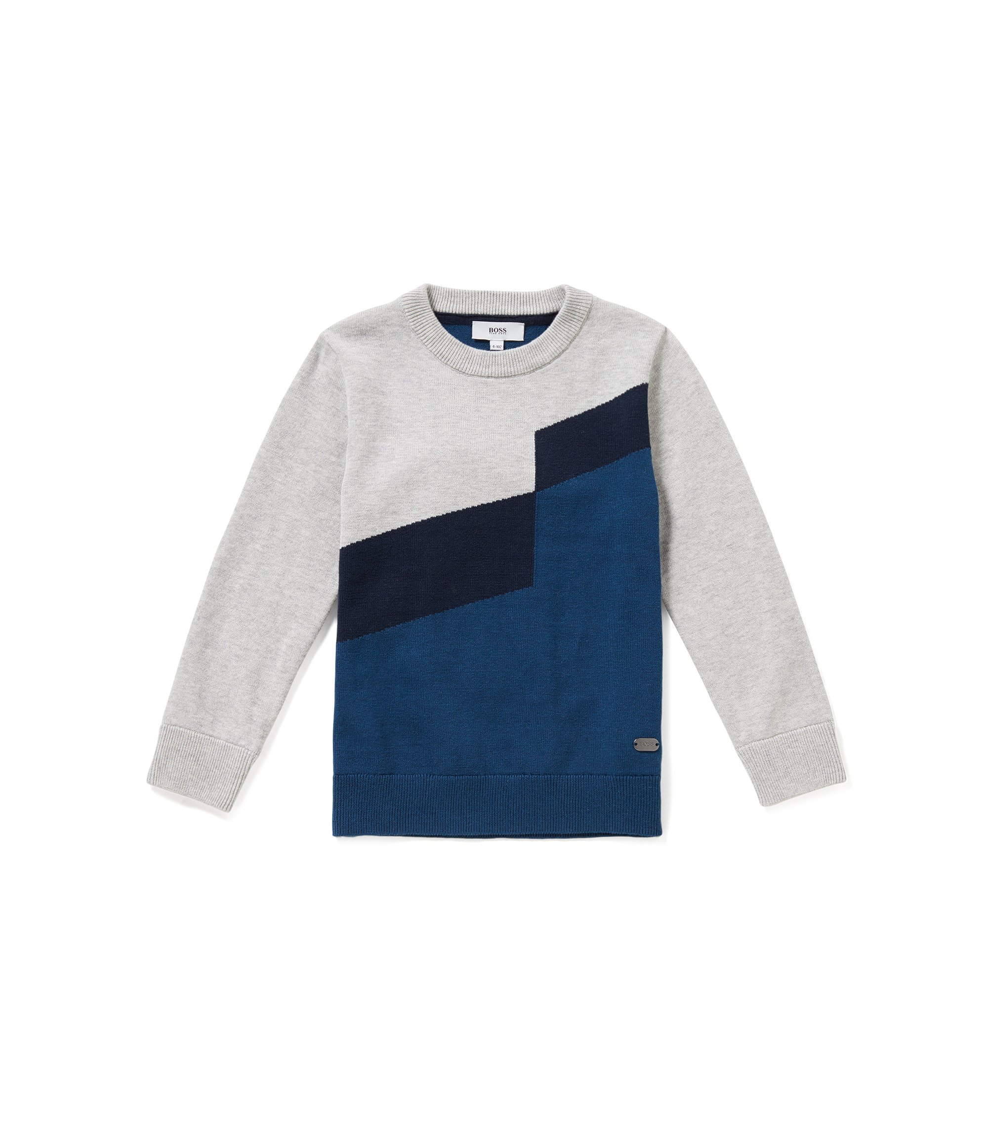 Regular-Fit Kids-Pullover aus Baumwoll-Mix mit Wolle im Colour-Block-Design, Gemustert