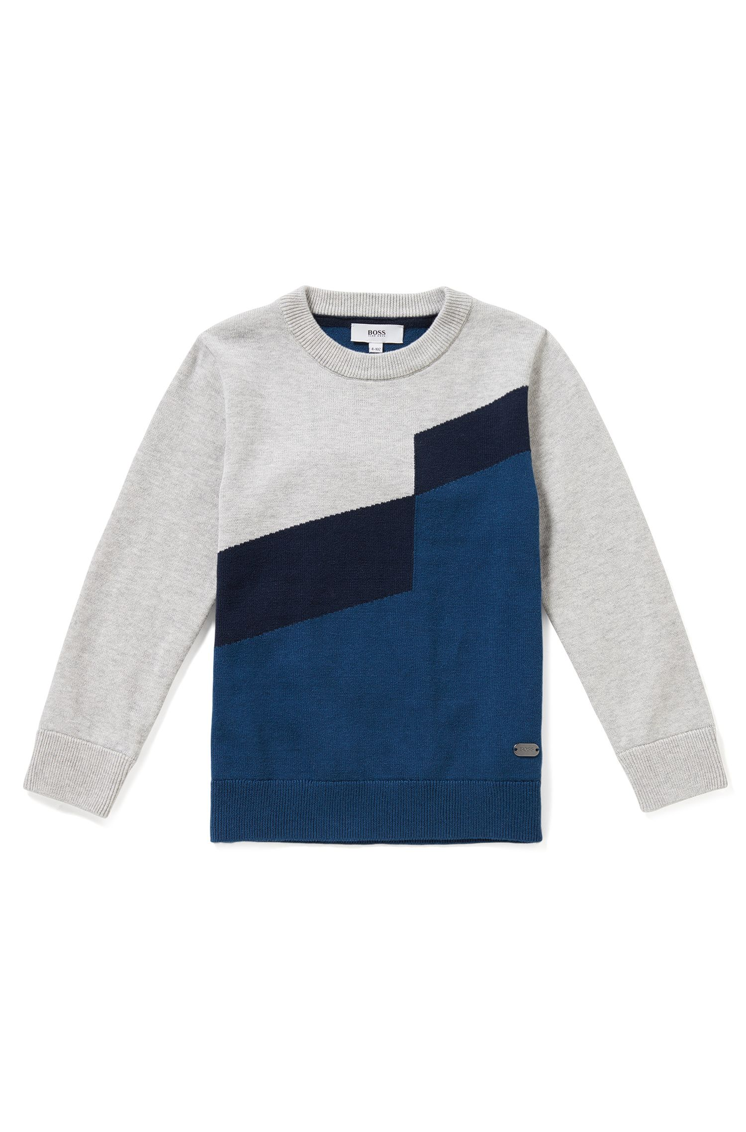 Regular-Fit Kids-Pullover aus Baumwoll-Mix mit Wolle im Colour-Block-Design