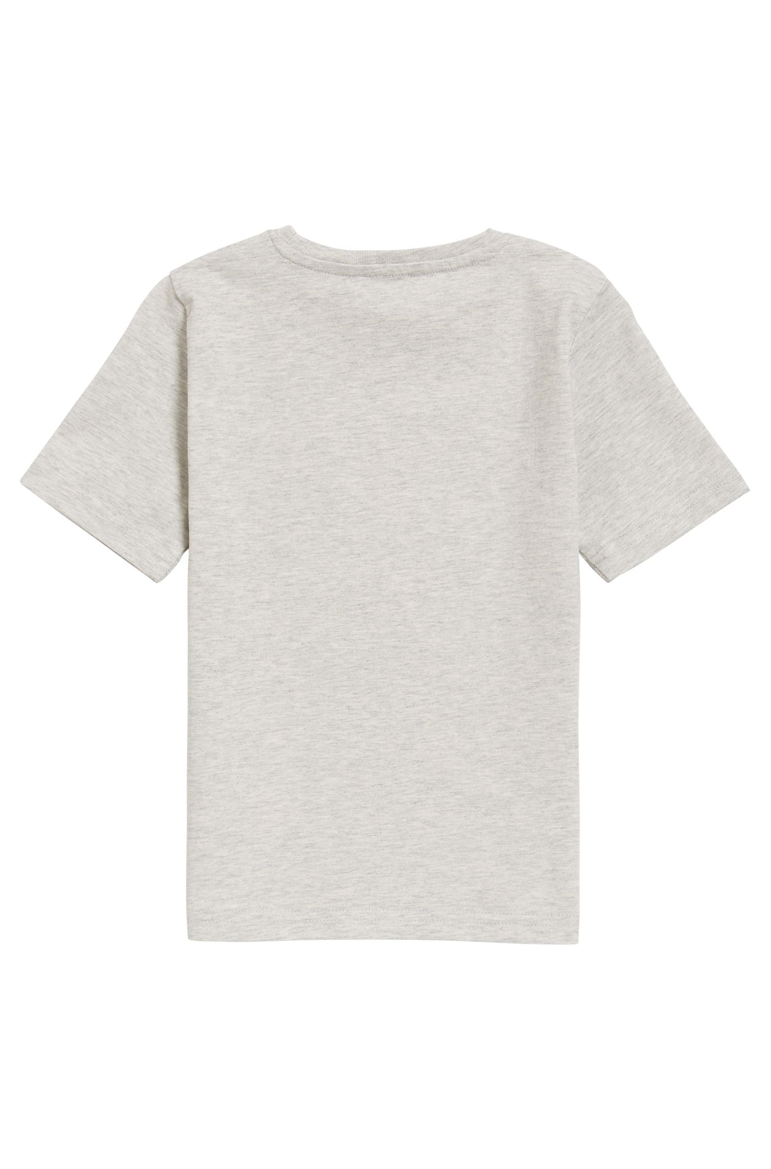 T-shirt enfant à logo en jersey de coton simple, Gris chiné