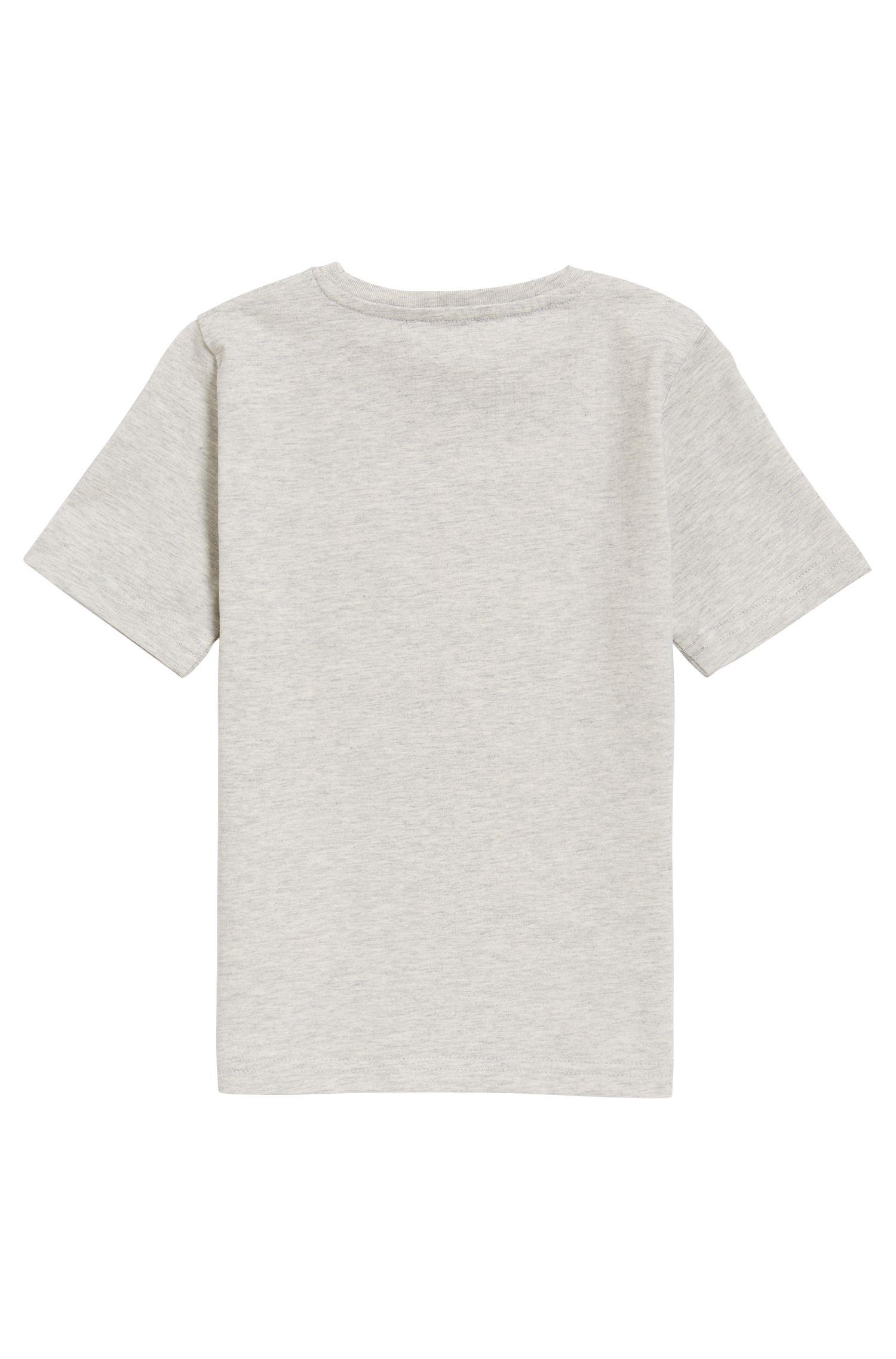 T-shirt da bambino in jersey di cotone con logo, Grigio chiaro