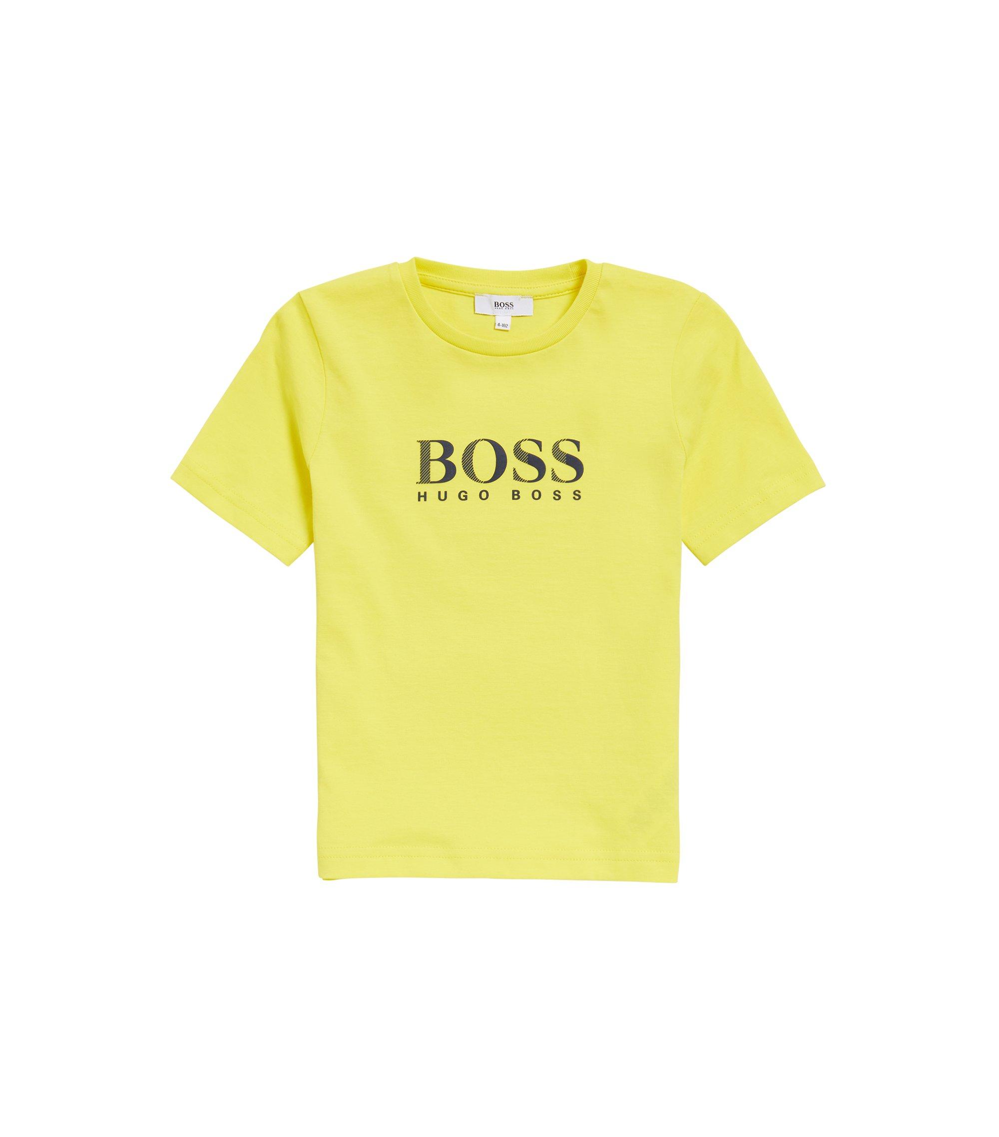 Camiseta para niños en algodón de punto sencillo con logo, Amarillo